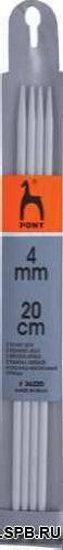 36220 Спицы носочные 4,0мм*20см, алюминий PONY