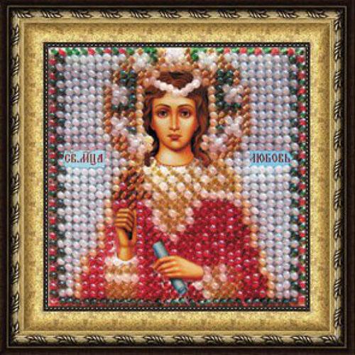 049ПМИ Набор для вышивания бисером 'Вышивальная мозаика' Икона 'Св.Мученица Любовь', 6,5*6,5 см