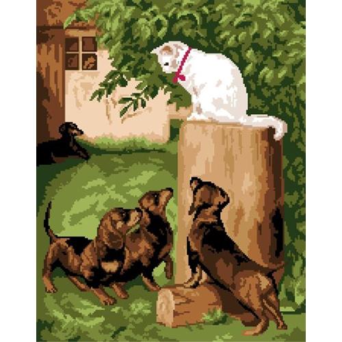 200108 Канва с рисунком ГК (Кошка и собаки) 40х50