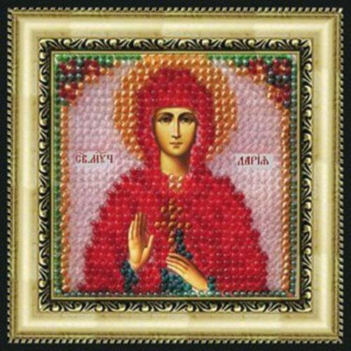 055ПМИ Набор для вышивания бисером 'Вышивальная мозаика' Икона 'Св. Муч. Дария Римская', 6,5*6,5 см