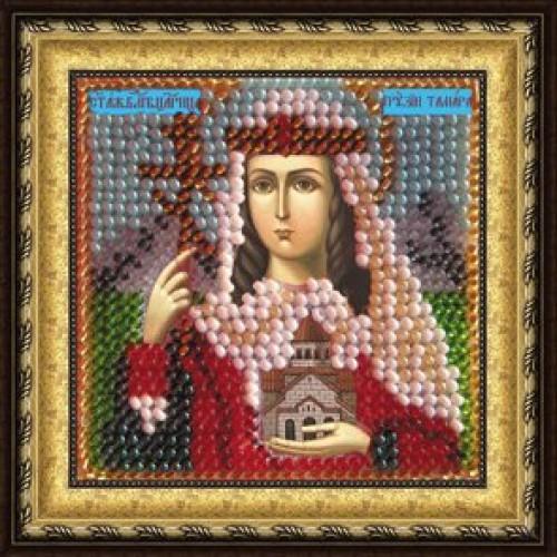 056ПМИ Набор для вышивания бисером 'Вышивальная мозаика' Икона 'Св. Блг. Царица Грузии Тамара Великая', 6,5*6,5 см