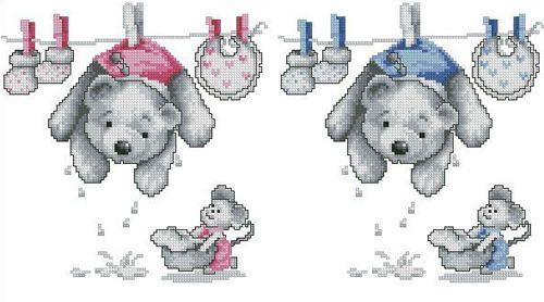 0011892-PN Набор для вышивания Vervaco 'С рождением-сыночек и дочка' 20x22см
