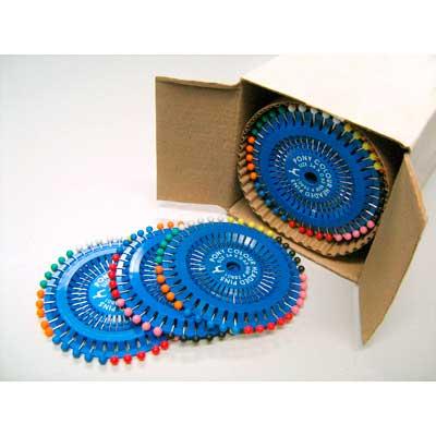 28801 Булавки наметочные цветная головка 0,65 мм/ 34 мм, сталь/пластик, 40 шт PONY