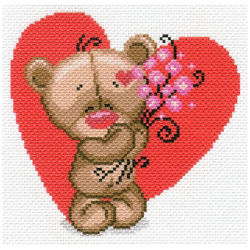1728-1 Канва с рисунком Матренин посад 'Мишуткина любовь' 24*35см (28*37см)