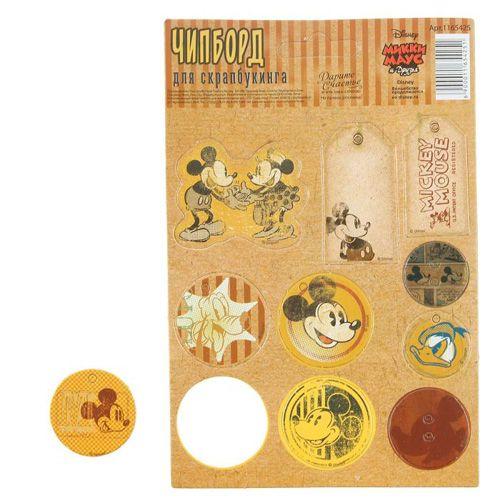 1165425 Чипборд вырубной для скрапбукинга 'Винтаж' Микки Маус
