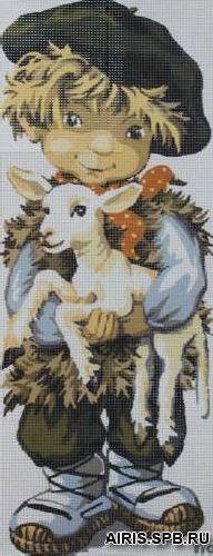 9880.0137.0081 Канва с рисунком 'Маленький пастух' 49*19 см