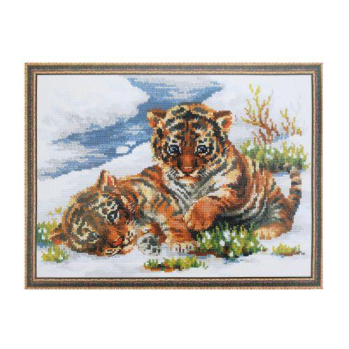 1564 Набор для вышивания Riolis 'Тигрята в снегу', 40*30 см