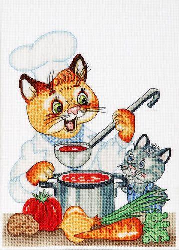 1231 Набор для вышивания Alisena 'Кот-кулинар', 18*23 см