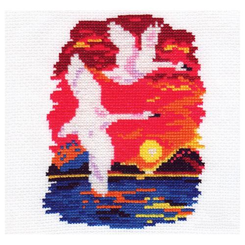 0-28 Набор для вышивания АЛИСА 'Лебеди' 11*14см