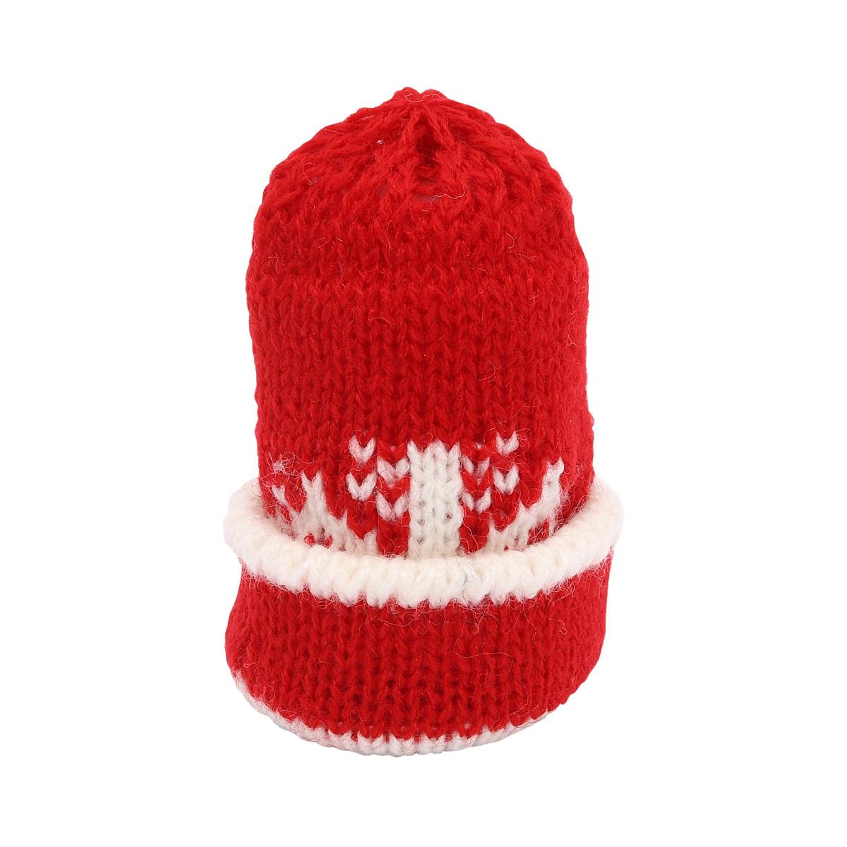 AR265 Шапочка для игрушек красная со снежинкой, 8см