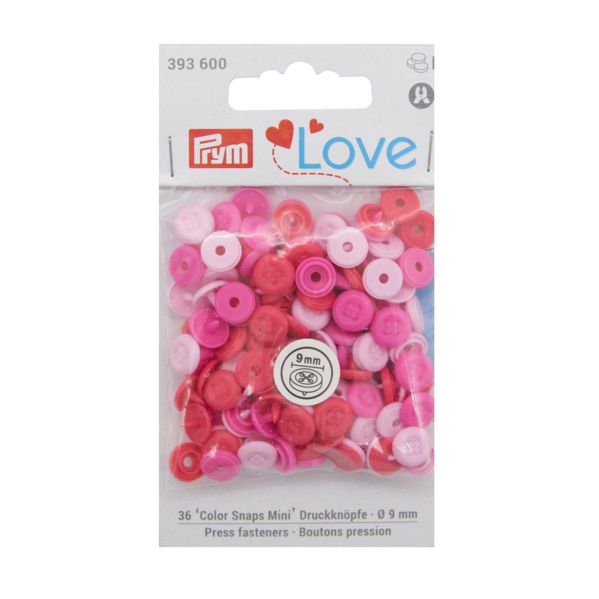 393600 Кнопки ColorSnapsMini имитация стежка Prym Love, розовый 36шт Prym