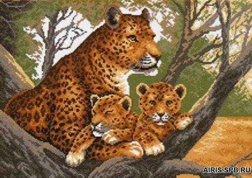 615 Канва с рисунком 'Матренин посад' 'Гепард с малышами', 37*49 см