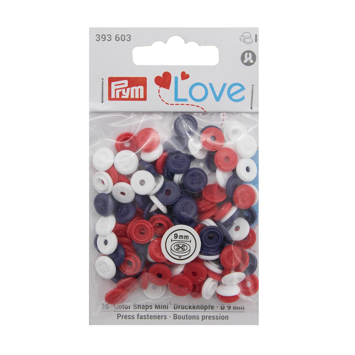 393603 Кнопки ColorSnapsMini имитация стежка Prym Love, красн/бел/син 36шт Prym