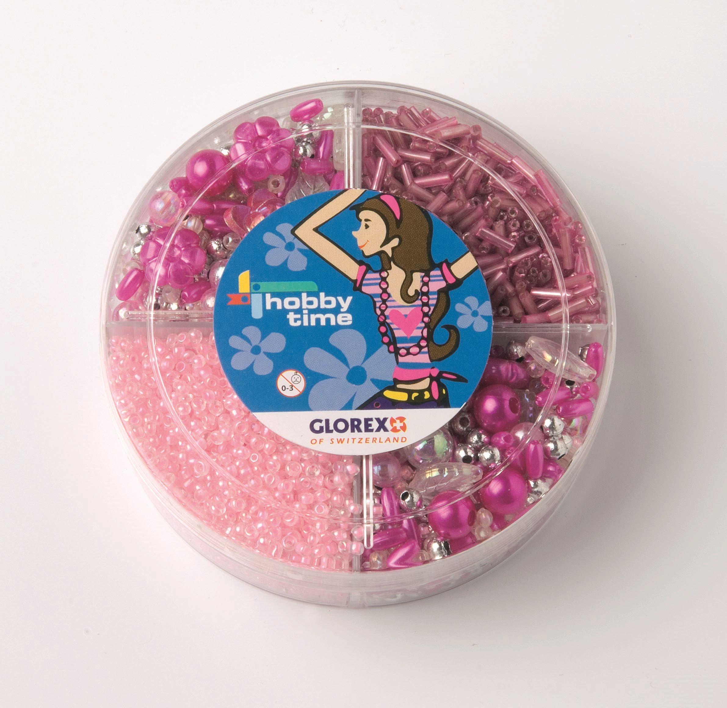61630020 Набор из бисера в платиковом контейнере розовый Glorex