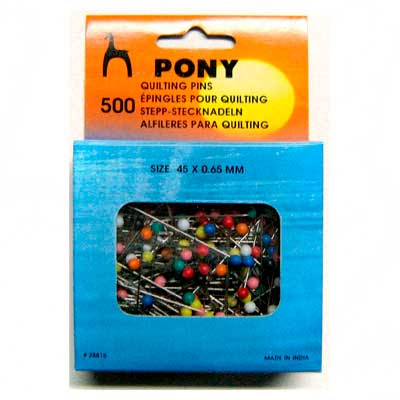 28815 Булавки наметочные цветная головка 0,65 мм/45 мм, сталь/пластик, 500 шт PONY