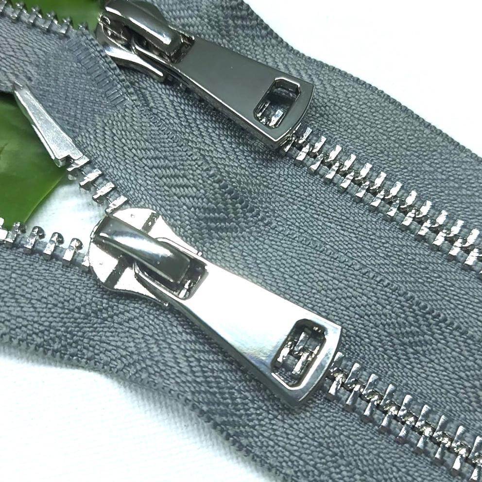 Молния металл №8ТТ никель два замка 75см D135 серый, 2002001721036