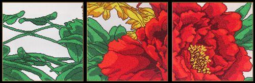302 Набор для вышивания бисером Astrea 'Красный цветок', фр1: 30х30 см, фр2: 30х30 см, фр3: 30х30 см