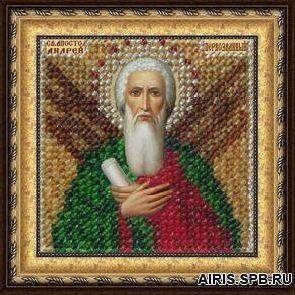 120ПМИ Набор для вышивания бисером 'Вышивальная мозаика' Икона 'Св. Апостол Андрей Первозванный', 6,5*6,5 см