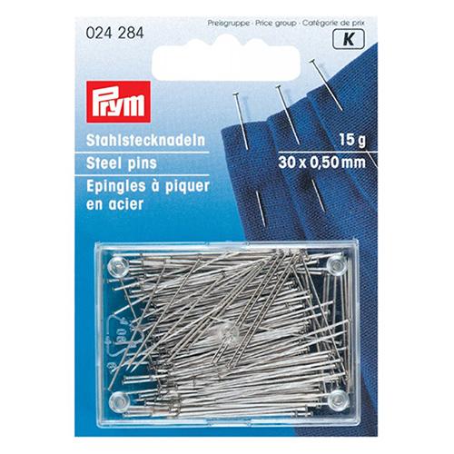 024284 Булавки (сталь) 6 очень тонкие, для шелка и сатина серебристый цв. 0,50*30 мм Prym