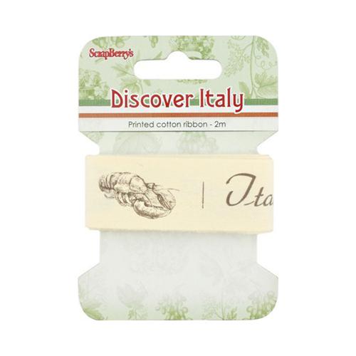 SCB390415 Лента декоративная 'Итальянская кухня', 25мм, 2м, хлопок