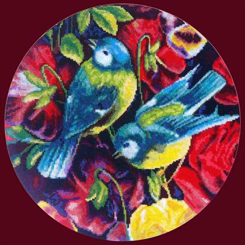 X-1137 Набор для вышивания 'Гобелен Классик' 'Синицы и цветы', 28x28 см