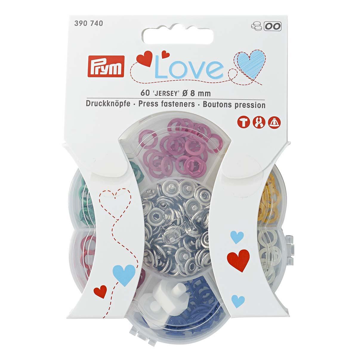 390740 Набор кнопки Джерси Prym Love Color, 8мм, 6*10шт, Prym