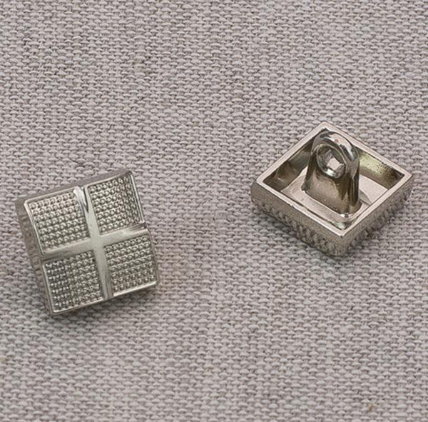 Пуговица металл ПМ63 10мм никель квадрат, 2135001265054