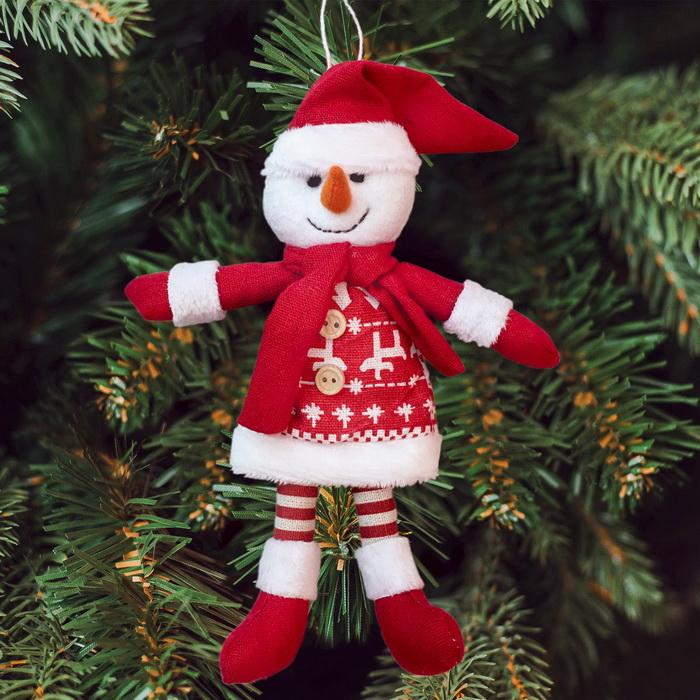 3441974 Набор для создания подвесной елочной игрушки из фетра 'Снеговик в шарфике'