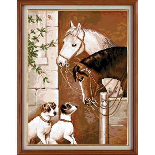 X-1141 Набор для вышивания 'Гобелен Классик' 'Лошади и собаки', 26х36 см
