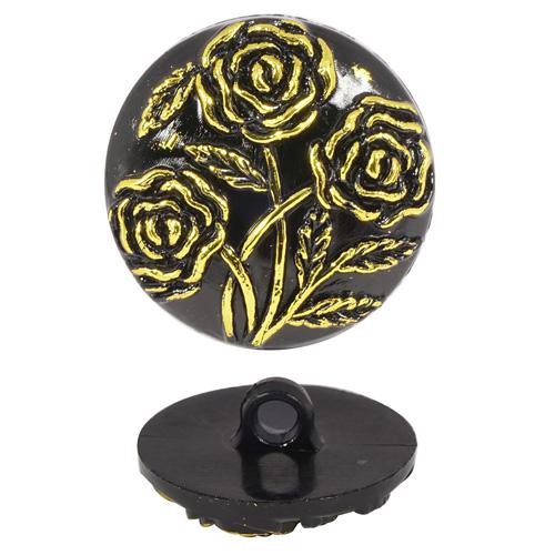 Пуговицы на ножке с золотыми розами 20мм