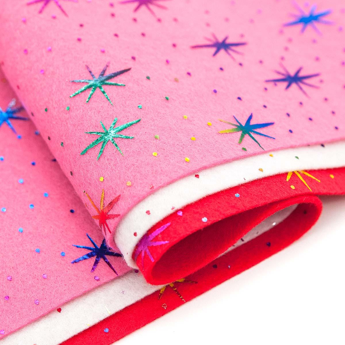 Фетр листовой декоративный 'Звезды' Астра, 1,0мм, 180 гр, 20х30см, 3 шт/упак