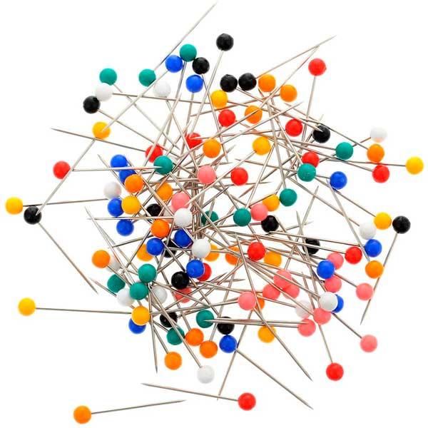 28401 Булавки наметочные цветная головка 0,65 мм/25 мм,сталь/пластик, 120 шт PONY