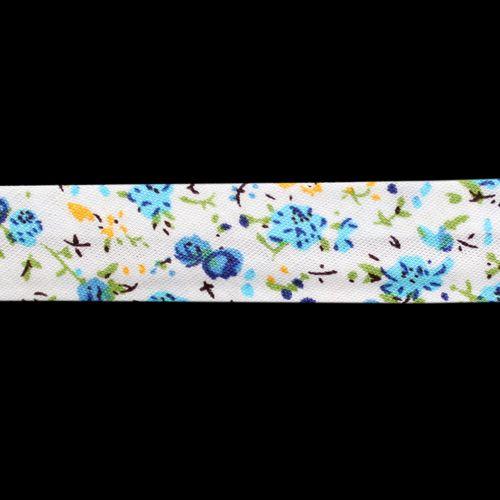Косая бейка с принтом 'Цветы' 15мм*65,8м (х/б)