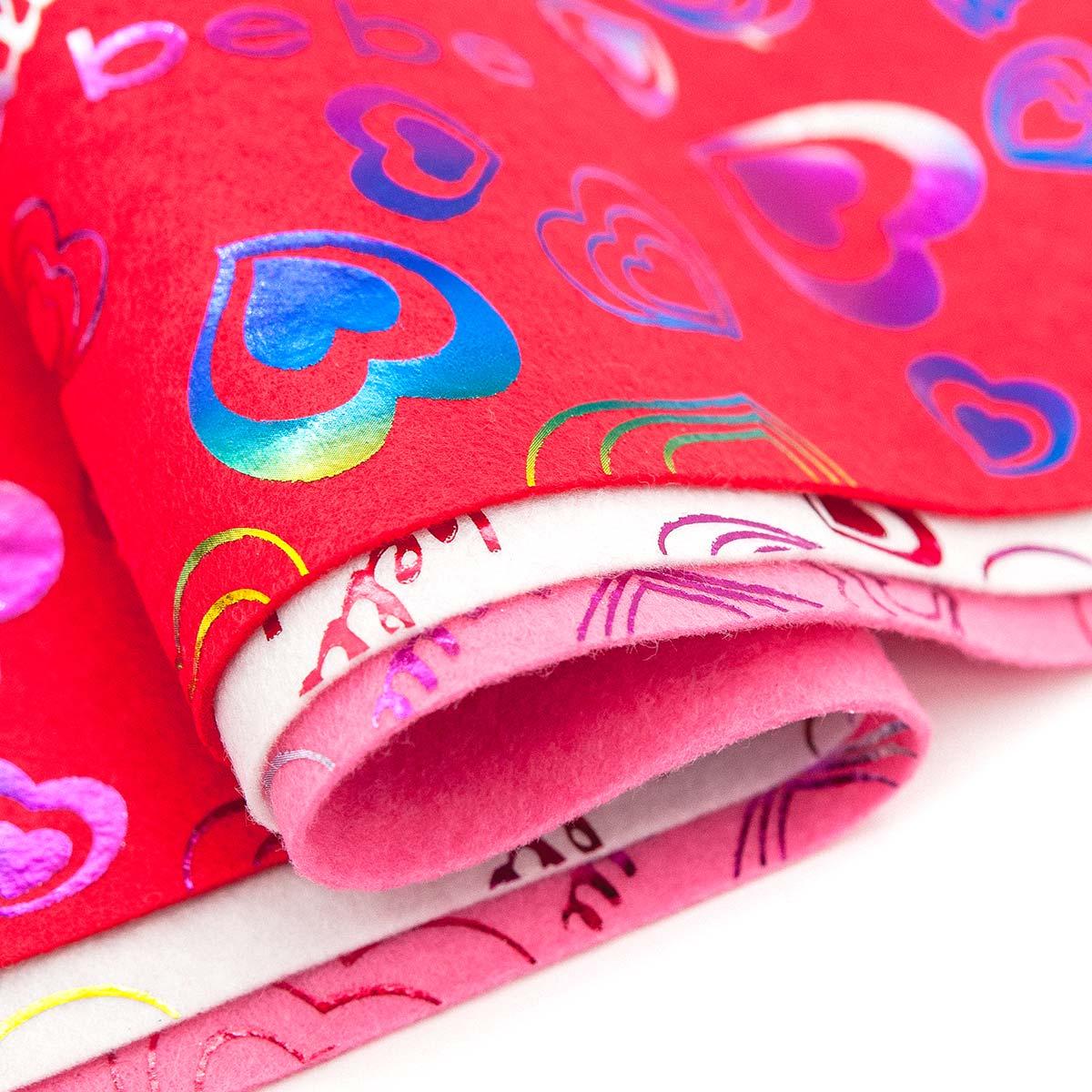 Фетр листовой декоративный 'Сердца' Астра, 1,0мм, 180 гр, 20х30см, 3 шт/упак