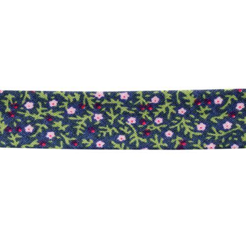 Косая бейка с принтом 'Цветочки' 15мм*65,8м (х/б)