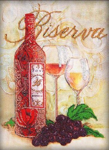 50115 Набор для вышивания бисером Astrea 'Бокалы и вино', 30х40 см
