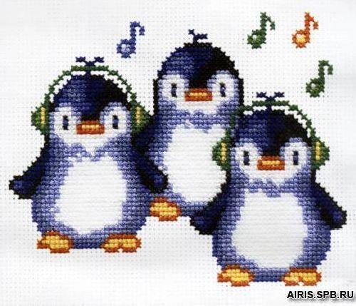 720 Набор для вышивания РС-Студия 'Пингвины' 19*15 см