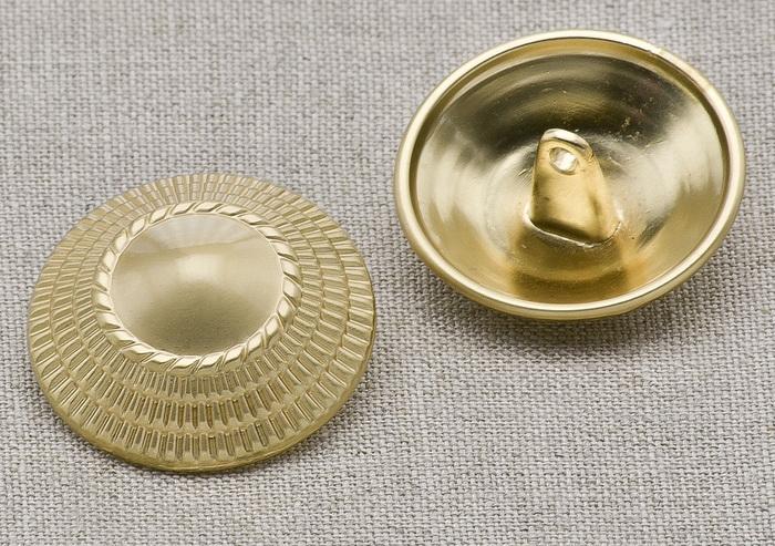 Пуговица металл ПМ18 25мм круглая матовое светлое золото, 2135001249061