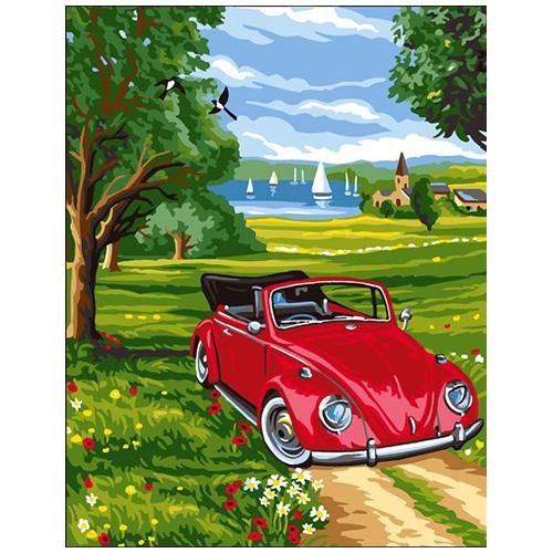 9880.0132.0164 Канва с рисунком Royal Paris 'Красное авто' 45*60 см
