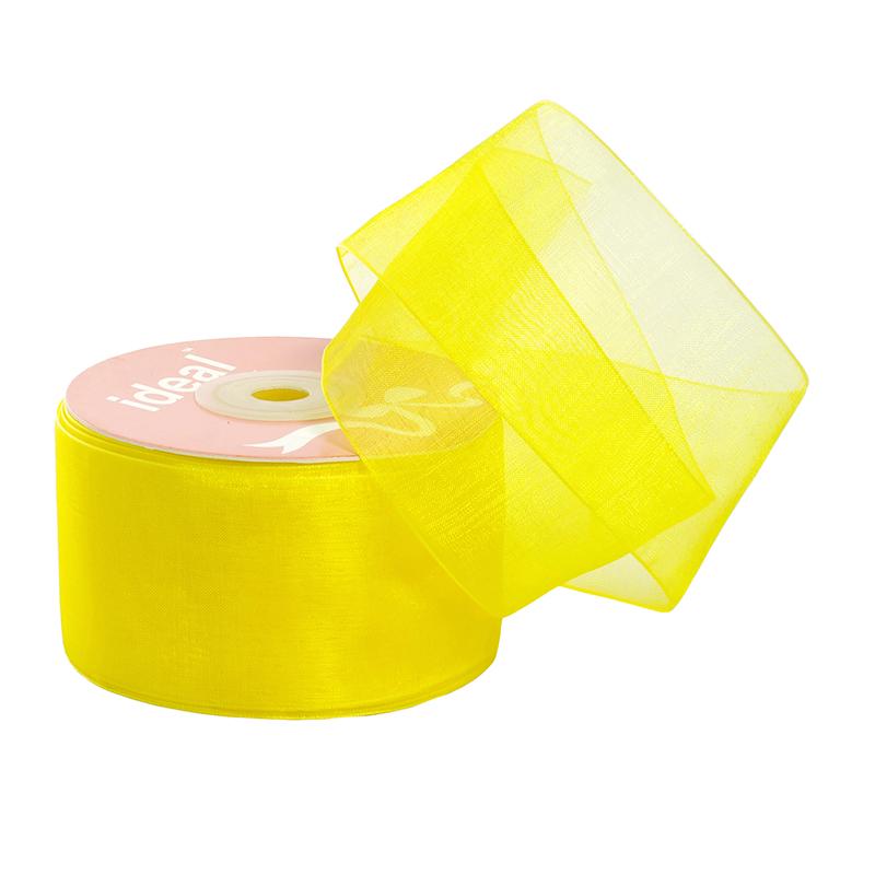 Лента капрон (органза) IDEAL шир.50мм цв.1004 желтый уп.27,4 м, ЛКАП501004
