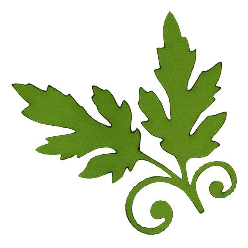 фом13-1-2 Заготовка из фоамирана 'Ветка с листьями', 8х8см, 10шт, тёмно- зелёный