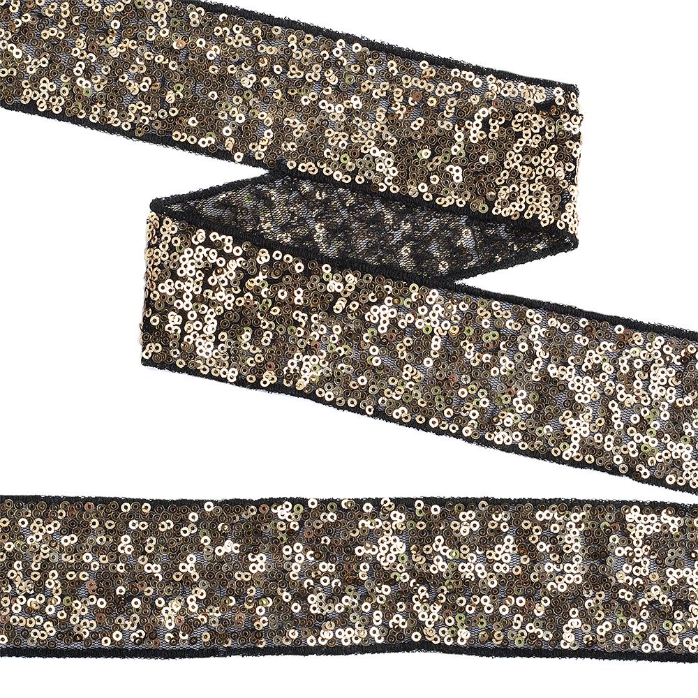 Тесьма с пайетками TBY на сетке арт. TDF05011 шир.50мм цв.черный+золото уп.13,7м, TDF05011