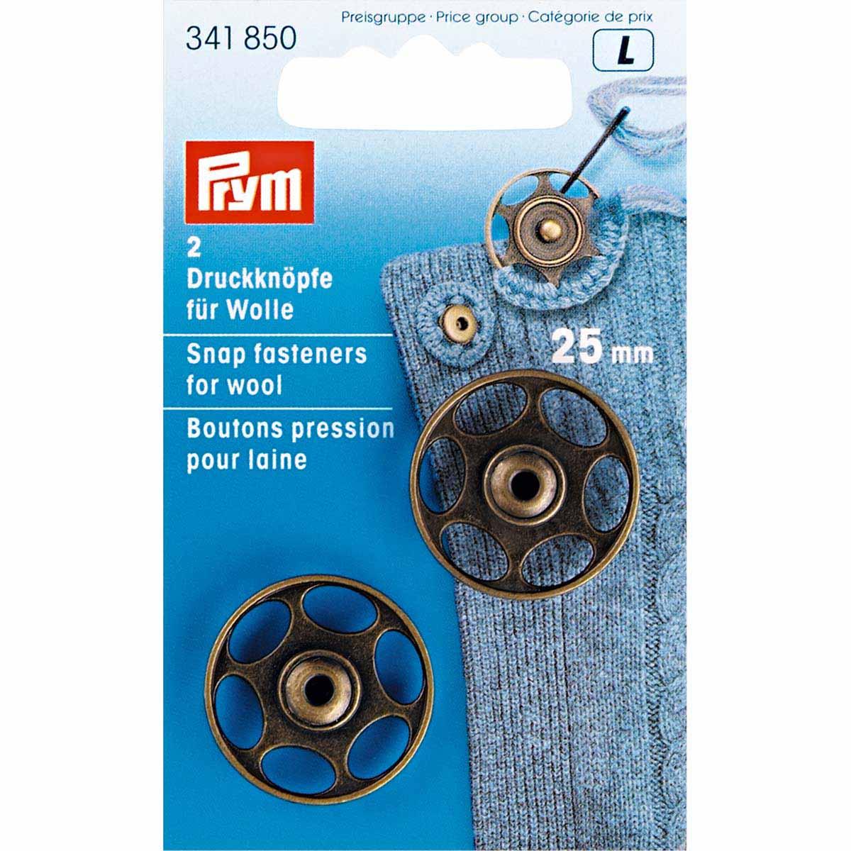 341850 Пришивная кнопка для шерсти, состаренная латунь, 25 мм, упак./2 шт., Prym