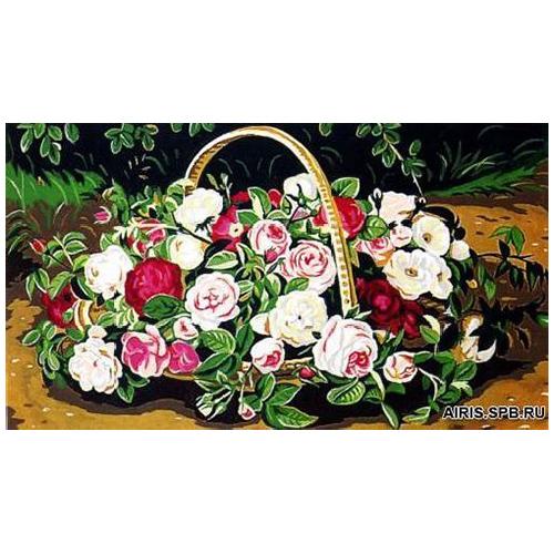 MRC1035-020 Канва с рисунком MARGOT 'Корзина роз' 45*65 см
