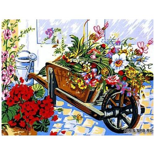 MRC1333-113 Канва с рисунком MARGOT 'Телега цветов' 50*65 см