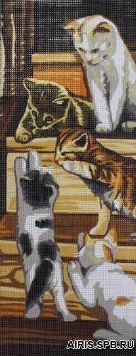 9880.0137.0010 Канва с рисунком Royal Paris 'Кошки' (25*60 см)*2