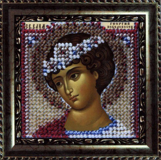 126ПМИ Набор для вышивания бисером 'Вышивальная мозаика' Икона 'Св. Влкм. Георгий Победоносец', 6,5*6,5 см