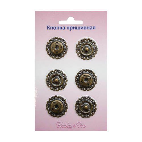 ГЖ2722 Кнопка пришивная, бронза, 23 мм, упак./3 шт., Hobby&Pro