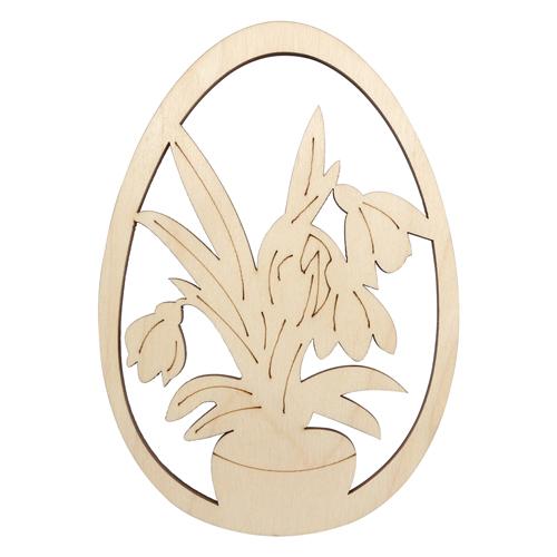 L-1057 Деревянная заготовка яйцо 'Тюльпаны' 10,5*15,0см АСТРА