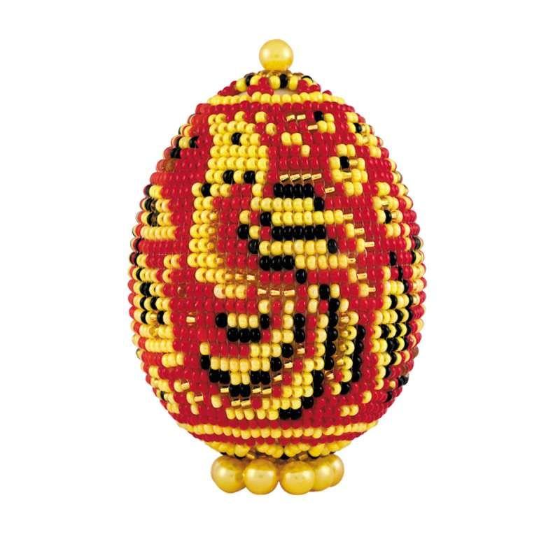 Б184 Набор для бисероплетения Riolis яйцо пасхальное 'Хохлома', 6,5*5 см